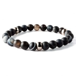 Beads bracelet 8mm Matte black Agate