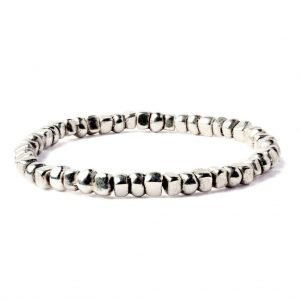 Cubes beads elastic bracelet (silver plated)