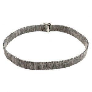 Flat silver cable bracelet
