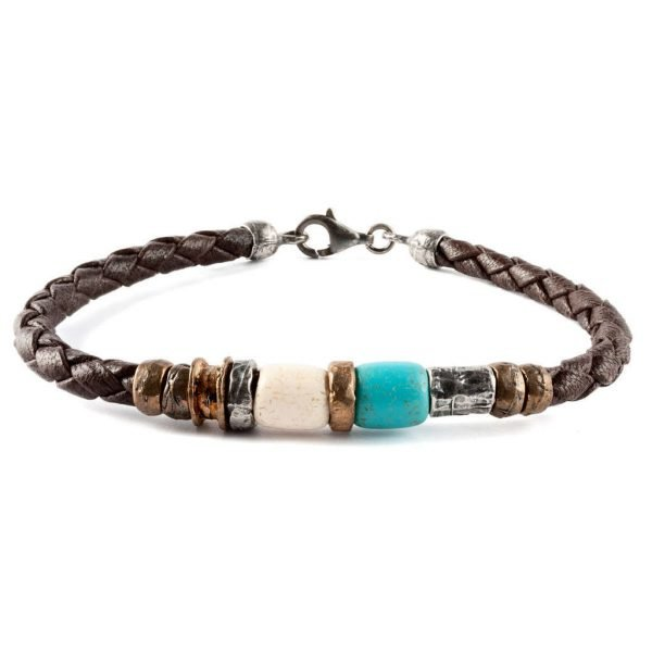 Leather mix Blue bracelet