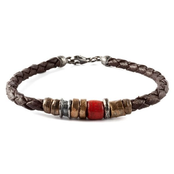 Leather mix Red bracelet