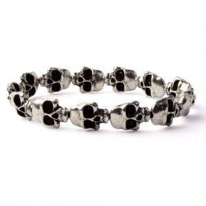 Skull beads elastic bracelet (Silver plated)