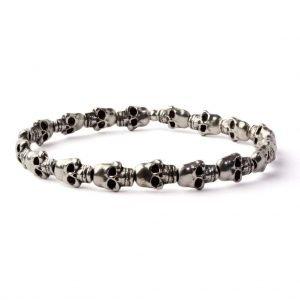 Skull small beads elastic bracelet (Silver plated)