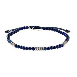 Adjustable 4mm Lapis lazuli bracelet