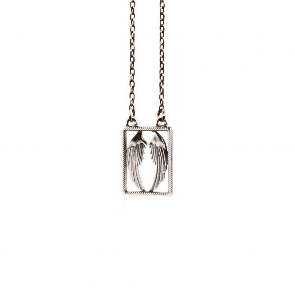 Angel and Devil silver scapular necklace