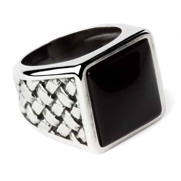 Big square silver ring Onyx