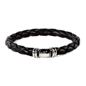 Black leather silver buckle bracelet