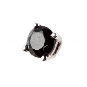 Black stone silver earring (square)