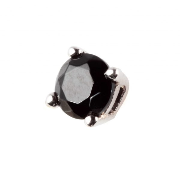 Black stone silver earring (square)