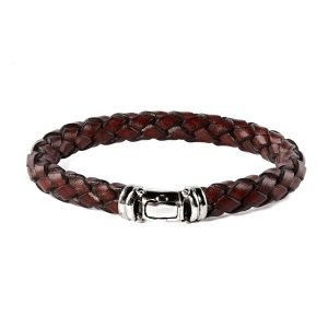 Brown leather silver buckle bracelet