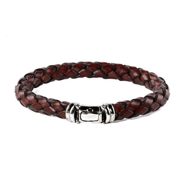 Brown leather silver buckle bracelet