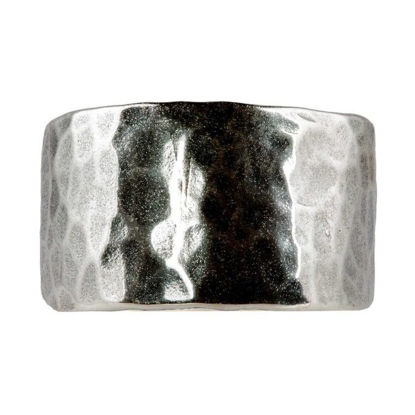 Hammered thin silver ring (Large)