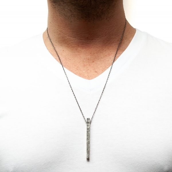 Collar de plata rectángulo largo Eleven
