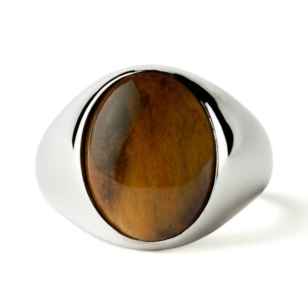 Oval silver ring Tiger eye