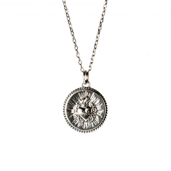 Sacred heart of Jesus silver necklace