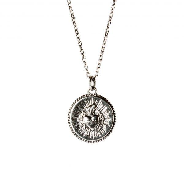 Collar de plata Sagrado corazón de Jesús