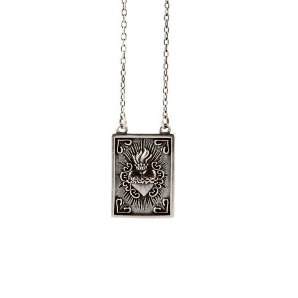 Sacred heart of Jesus silver scapular necklace