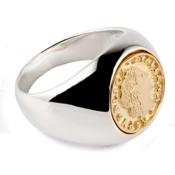Signet silver ring with golden coin