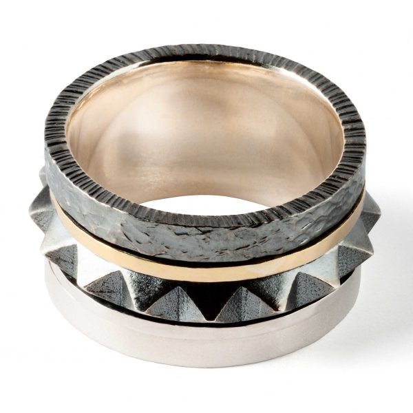 Spinning big spike silver ring