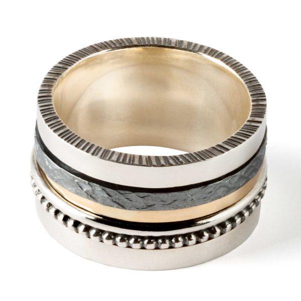 Anillo de plata con Banda de Oro Giratoria