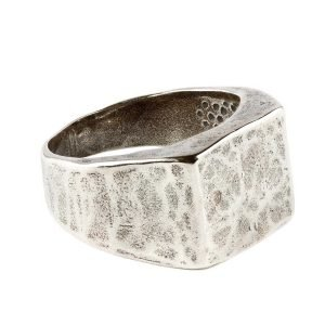 Square signet silver ring