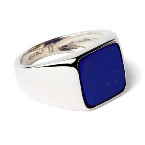 Square silver ring Lapis Lazuli