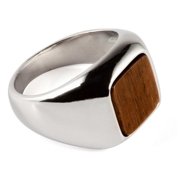Square silver ring Tiger Eye