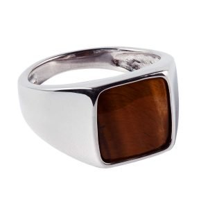 Square tiger eye silver ring