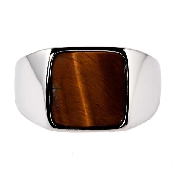 Square tiger eye silver ring