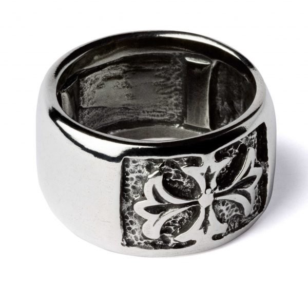 Thick silver ring with cross
