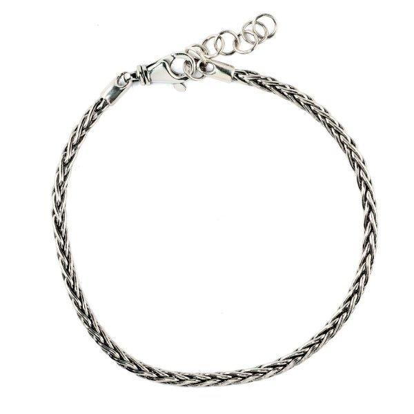 Thin braded silver bracelet