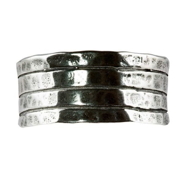 Three stripe silver ring