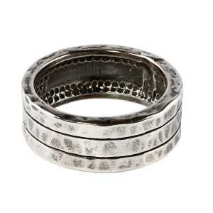 Two stripe silver ring