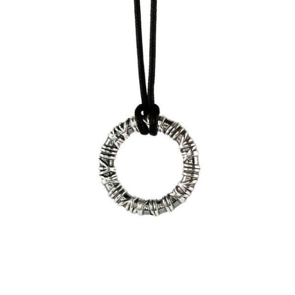 Big Ring adjustable silver necklace