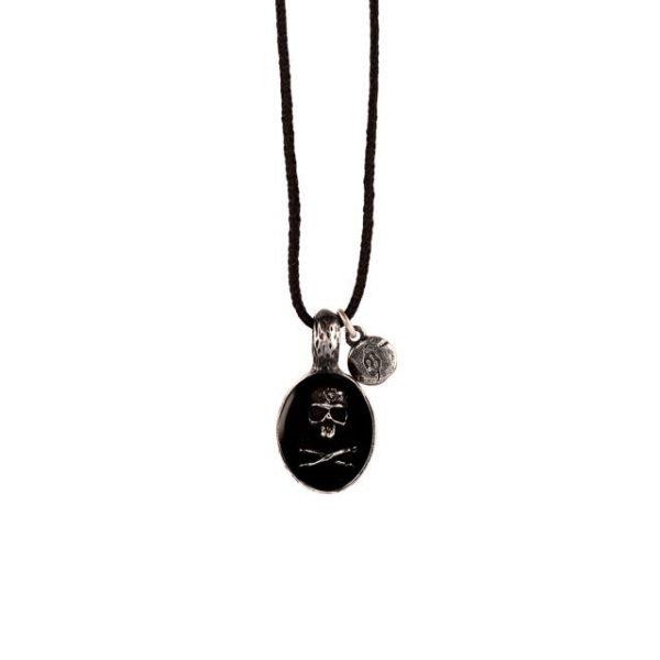 Black Skull adjustable silver necklace