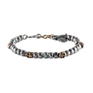 Bronze skull silver beads bracelet