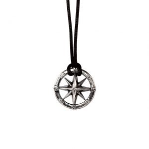 Compass adjustable silver necklace
