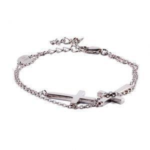 Bracelete de Plata Doble Cruz Dueros