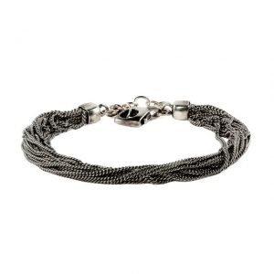 Multi thin chain silver bracelet