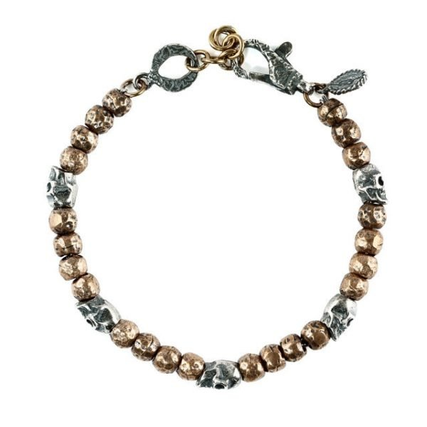 Silver skull bronze beads bracelet