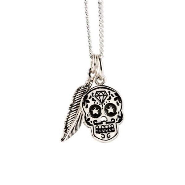 Flat Silver Skull Necklace