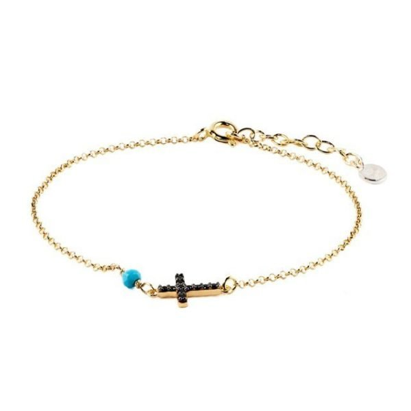 Small Cross Gold Silver Thin Bracelet