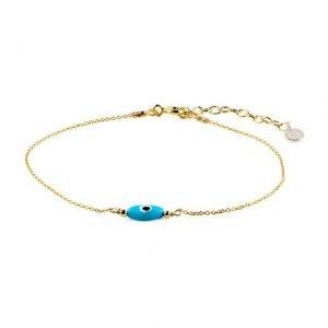 Small Oval Evil Eye Golden Thin Bracelet