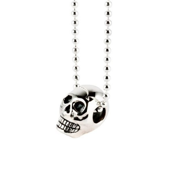 Small Plain Silver Skull Necklace