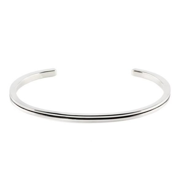 Thin Silver Cuff With Stripe