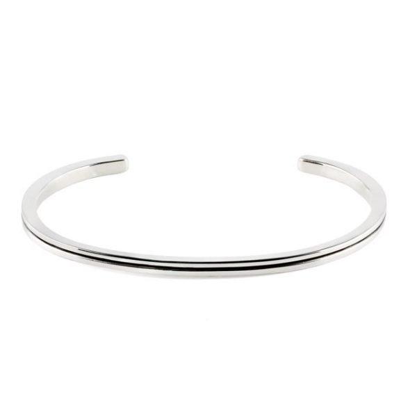 Pulsera de plata delgada con línea