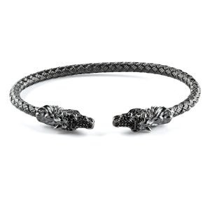 Flexible Silver Dragon Cuff