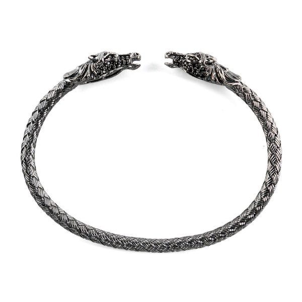 Flexible Silver Dragon Cuff