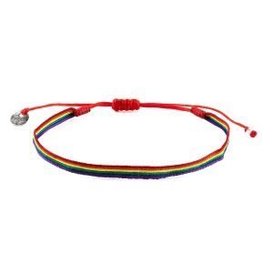Adjustable cotton bracelet LGBT Flag