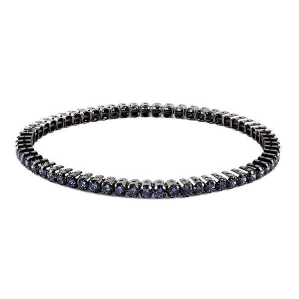 Elastic Tennis Blue on Black Silver Bracelet